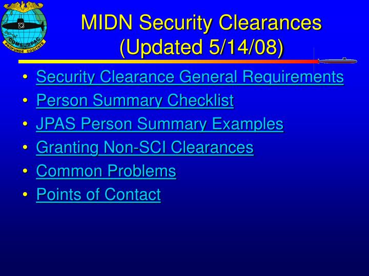 Midn Security Clearances Updated 5 14 08 L.