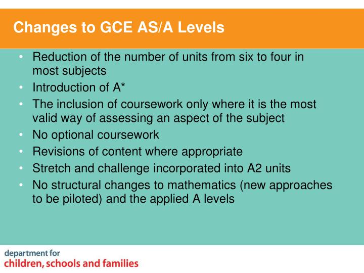 Changes to GCE AS/A Levels