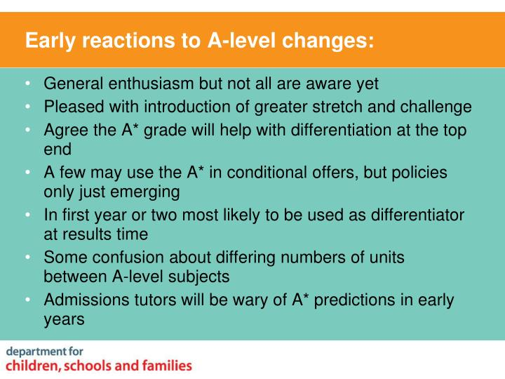 Early reactions to A-level changes: