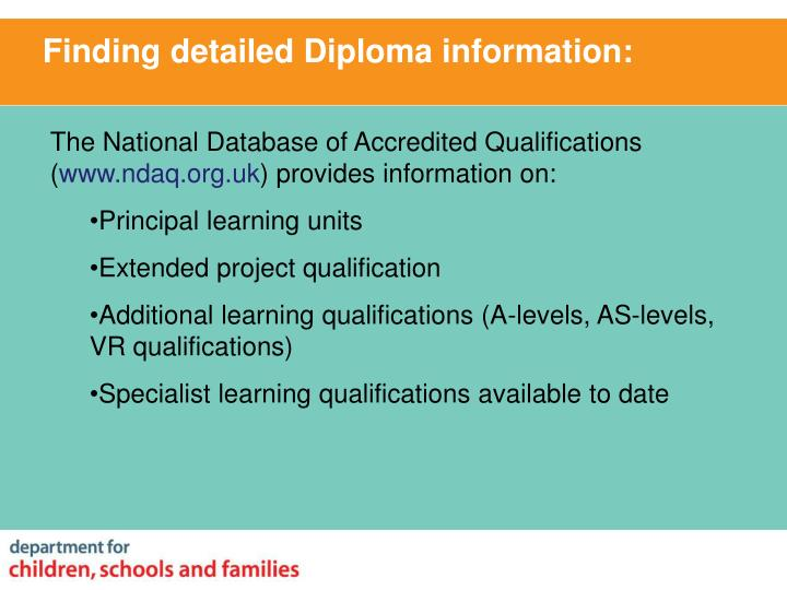 Finding detailed Diploma information: