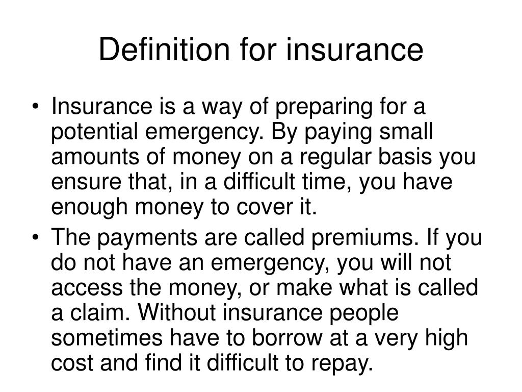 Definition for insurance