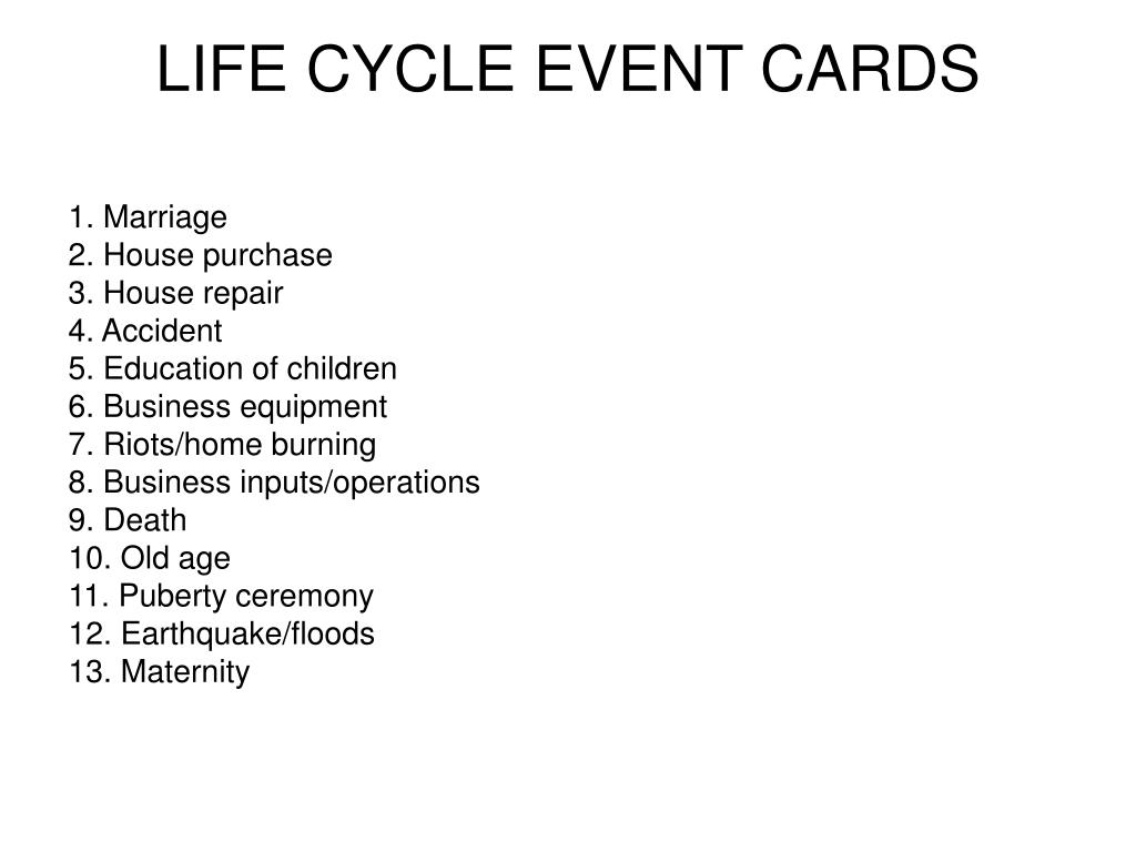 LIFE CYCLE EVENT CARDS