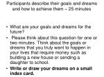 participants describe their goals and dreams and how to achieve them 25 minutes