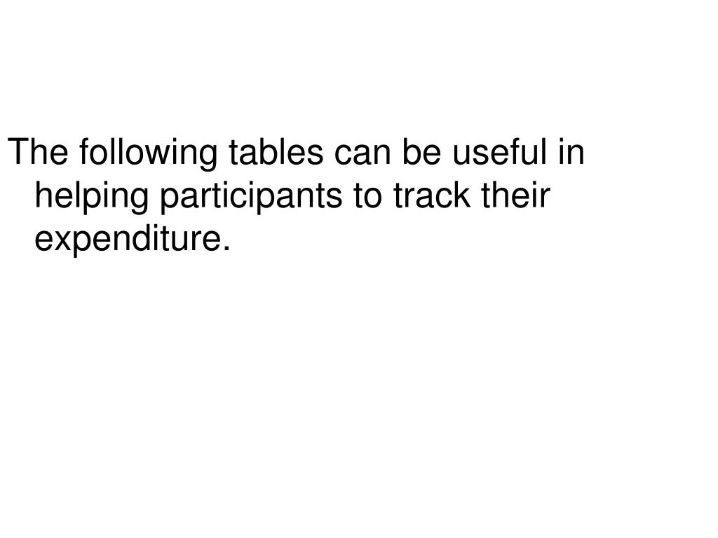 The following tables can be useful in helping participants to track their expenditure.