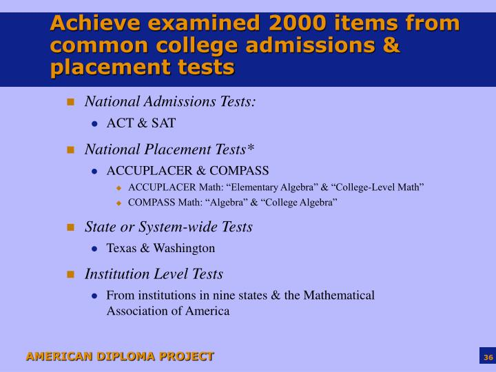 Achieve examined 2000 items from common college admissions & placement tests