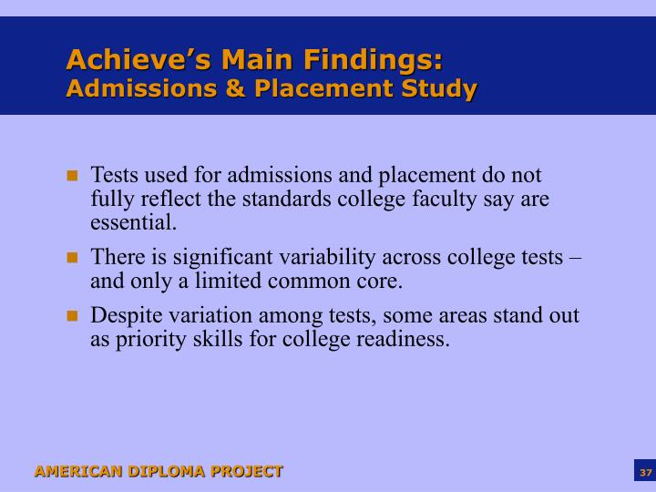 Achieve's Main Findings: