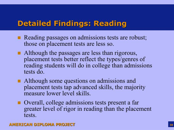 Detailed Findings: Reading