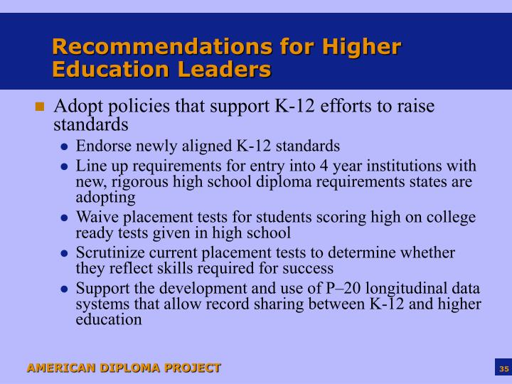 Recommendations for Higher Education Leaders