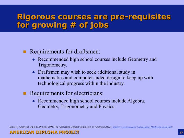 Rigorous courses are pre-requisites for growing # of jobs