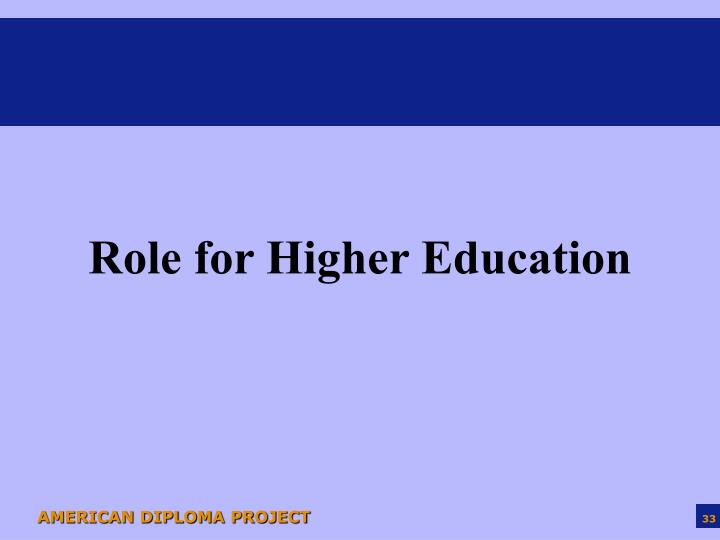 Role for Higher Education