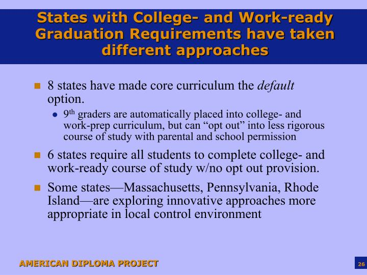 States with College- and Work-ready Graduation Requirements have taken different approaches
