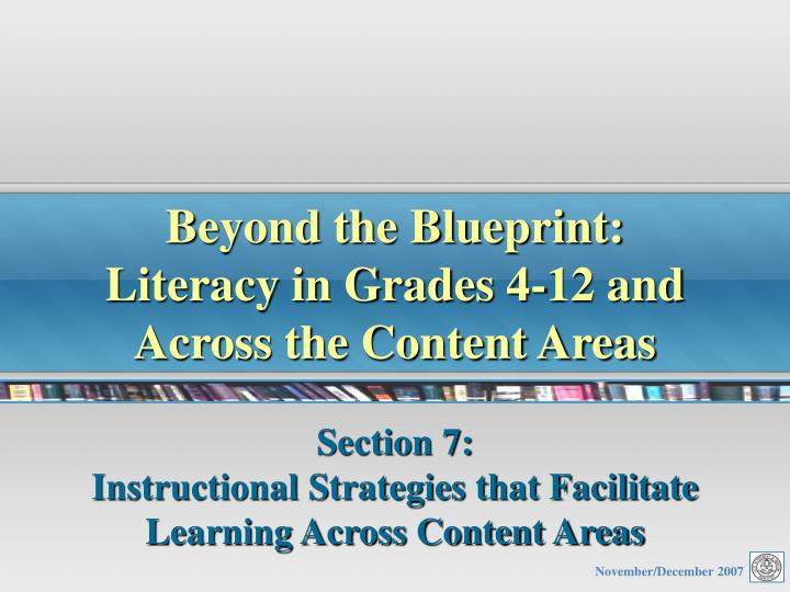 beyond the blueprint literacy in grades 4 12 and across the content areas n.