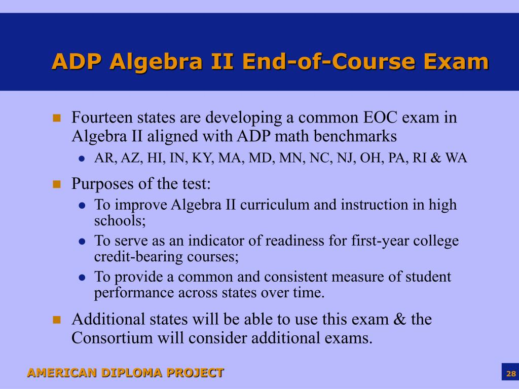 ADP Algebra II End-of-Course Exam