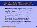align high school standards with the demands of college careers