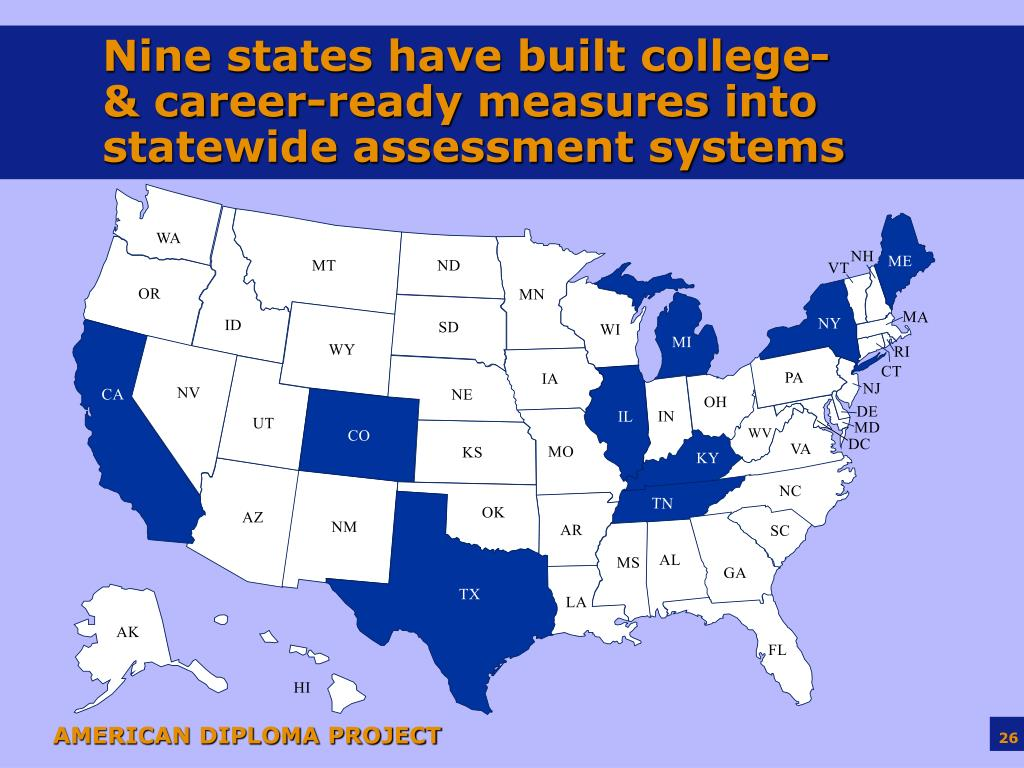 Nine states have built college- & career-ready measures into statewide assessment systems