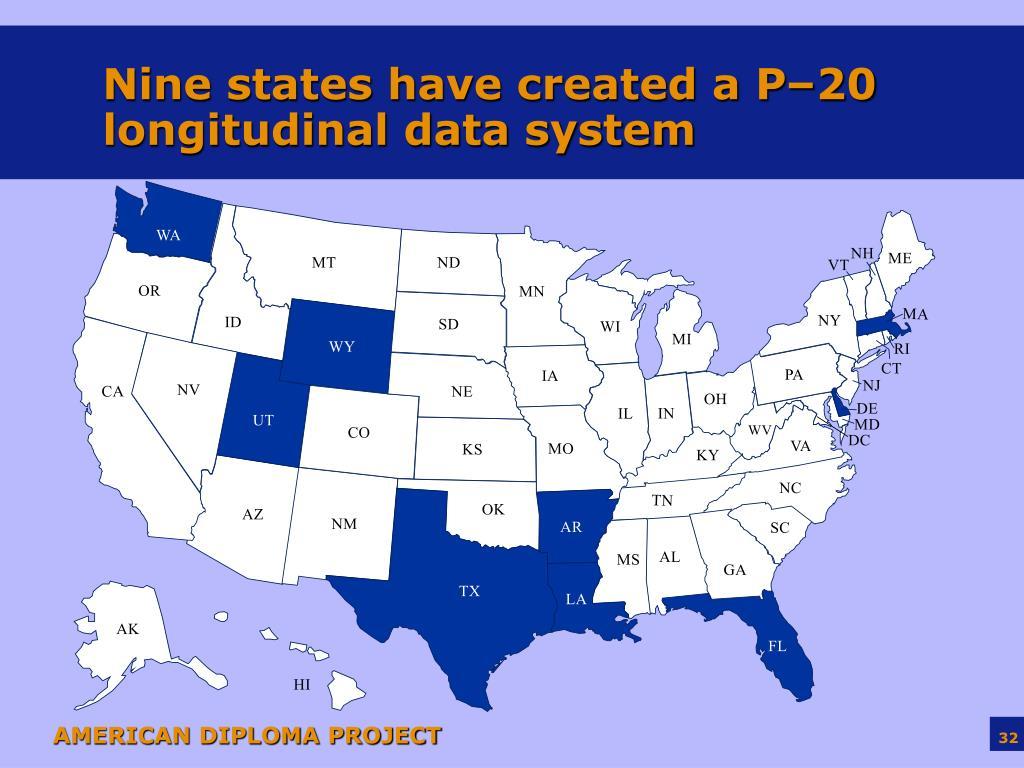 Nine states have created a P–20 longitudinal data system