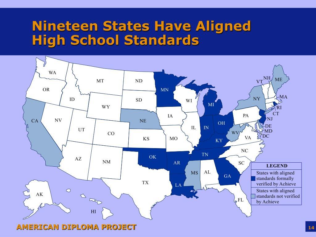 Nineteen States Have Aligned High School Standards