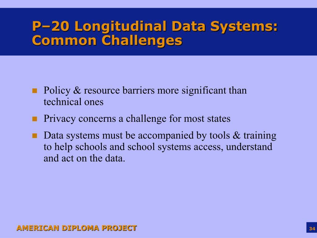 P–20 Longitudinal Data Systems: Common Challenges
