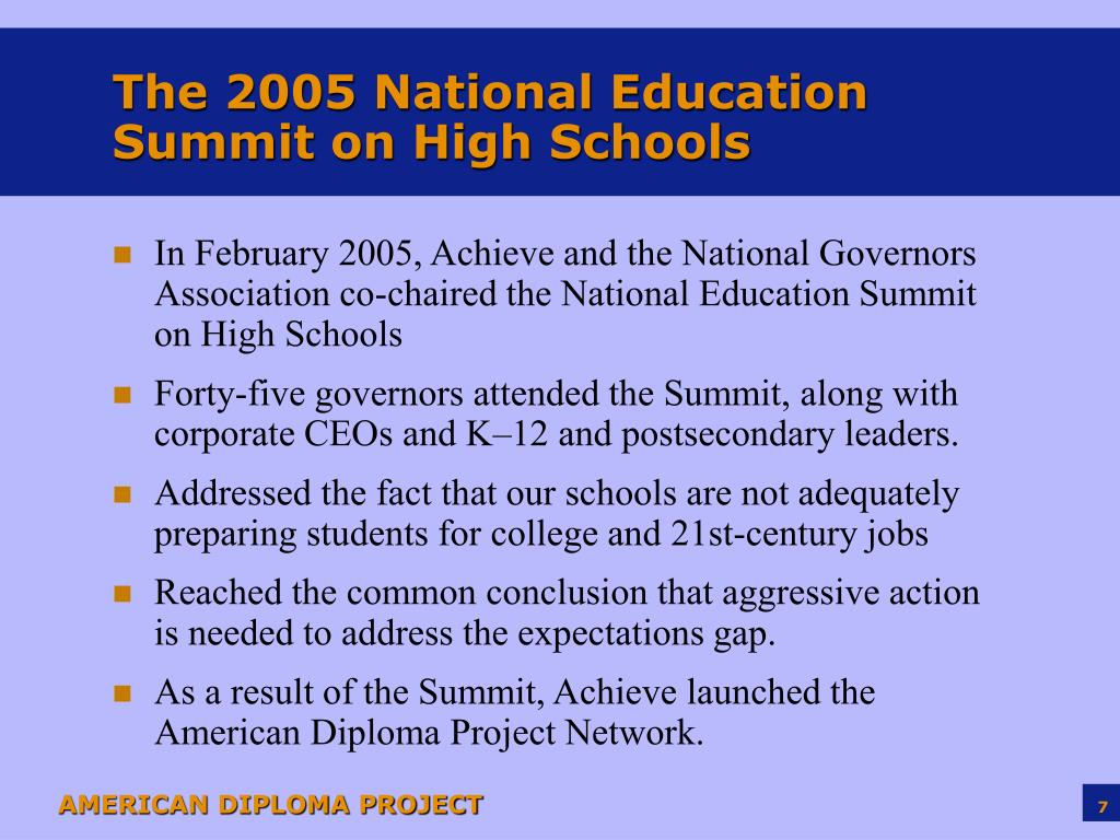 The 2005 National Education Summit on High Schools