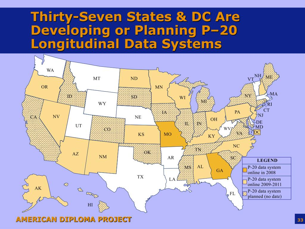 Thirty-Seven States & DC Are Developing or Planning P–20 Longitudinal Data Systems