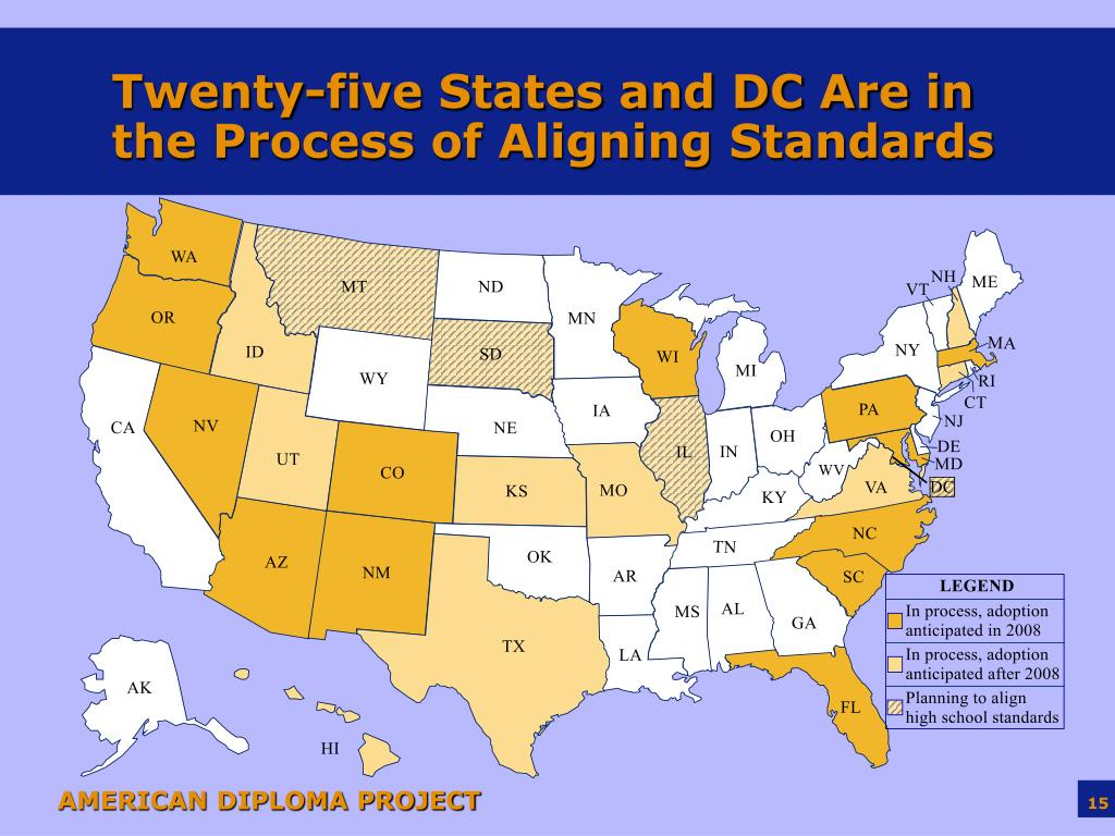 Twenty-five States and DC Are in the Process of Aligning Standards