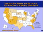 twenty five states and dc are in the process of aligning standards