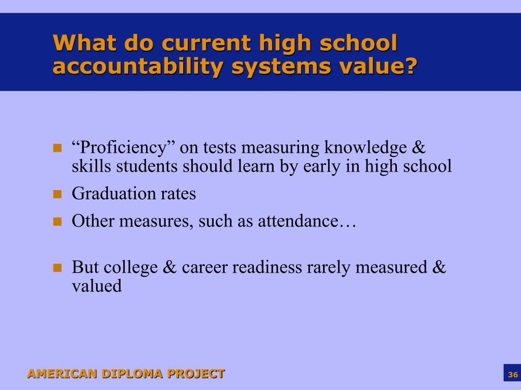 What do current high school accountability systems value?
