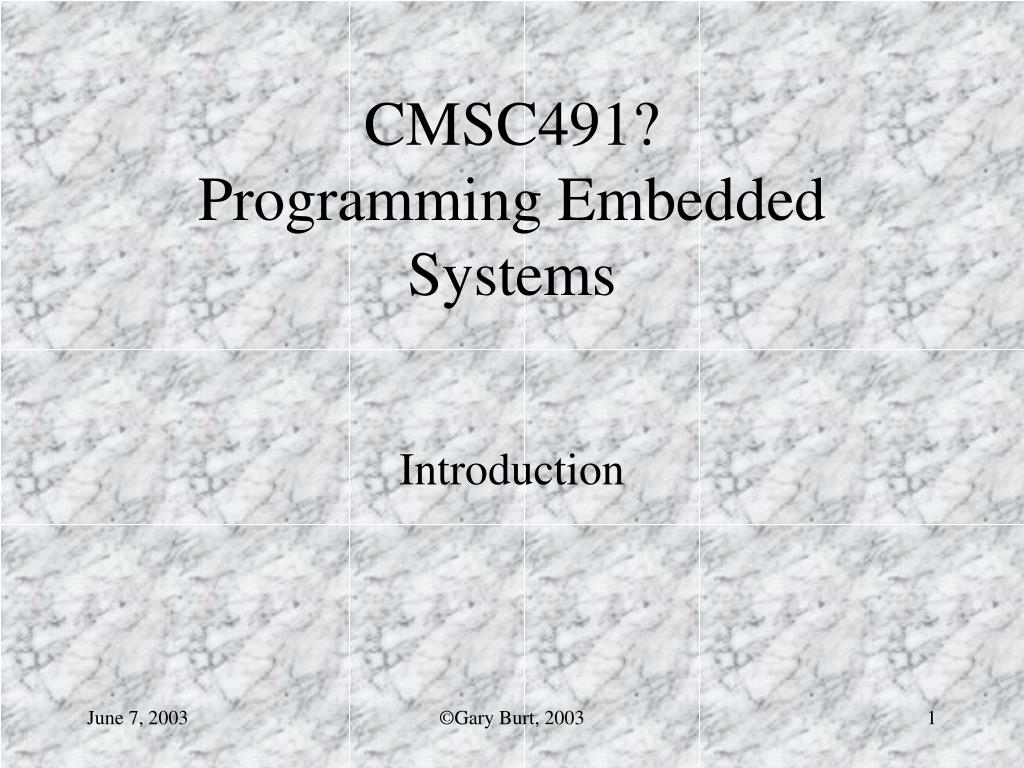 cmsc491 programming embedded systems l.