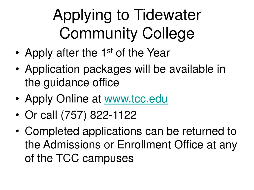 Applying to Tidewater Community College