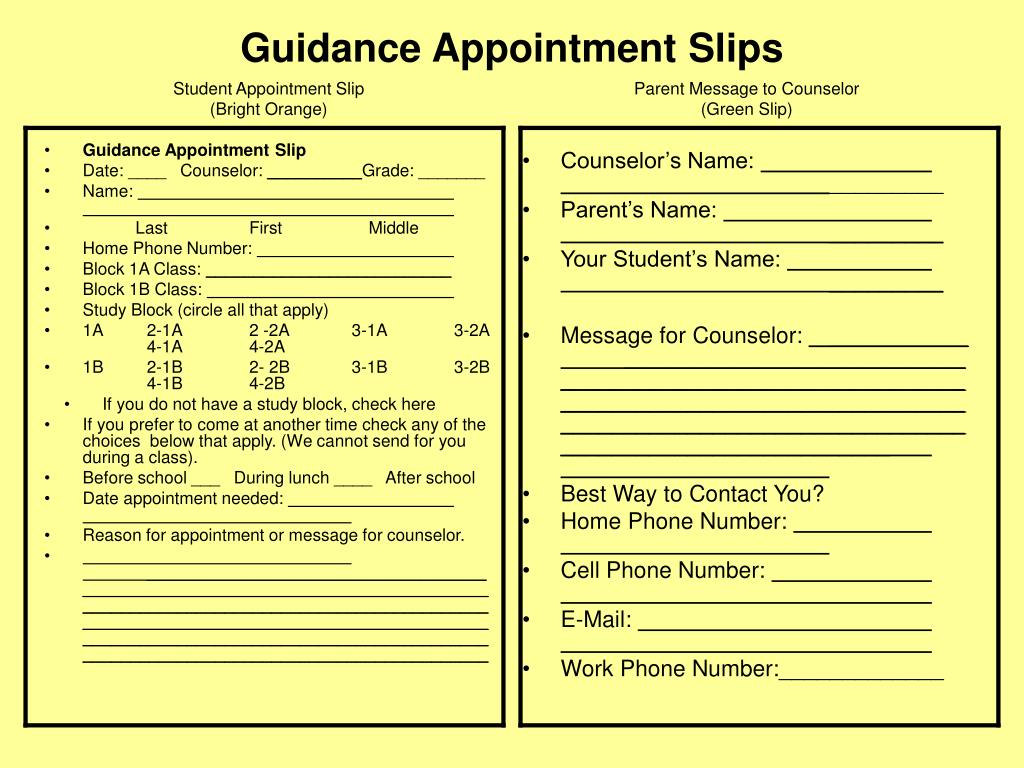 Student Appointment Slip