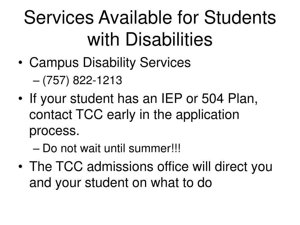 Services Available for Students with Disabilities