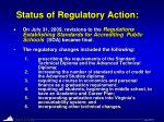 status of regulatory action