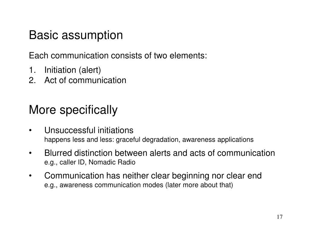 Basic assumption