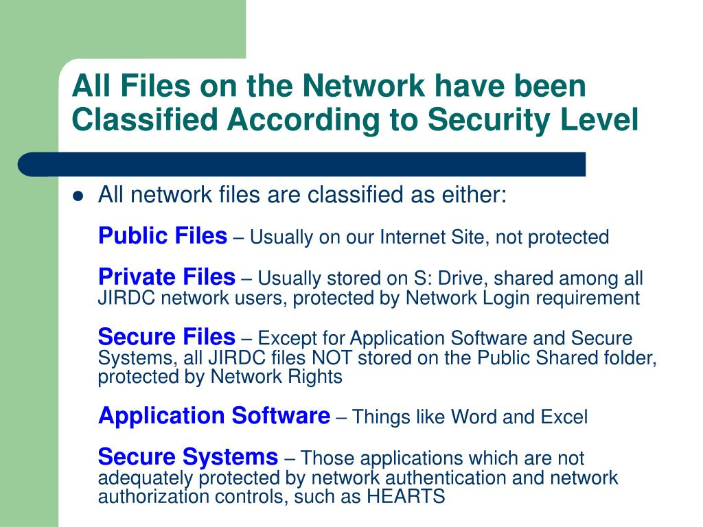 All Files on the Network have been Classified According to Security Level