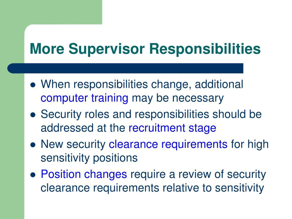 More Supervisor Responsibilities