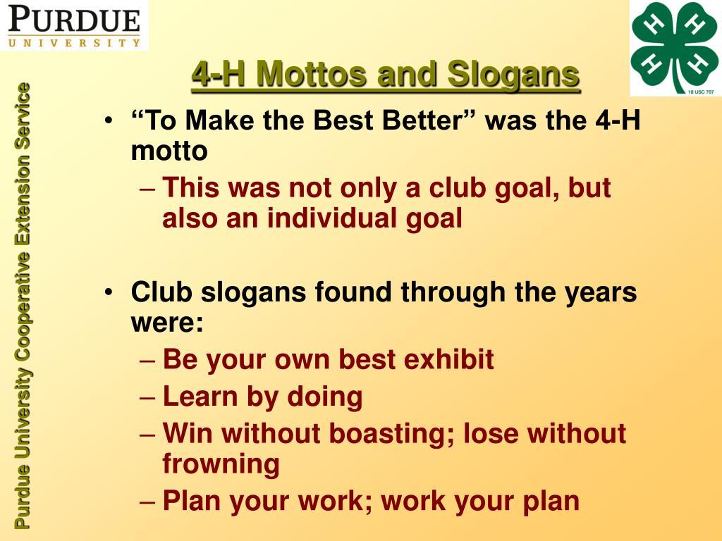 4-H Mottos and Slogans