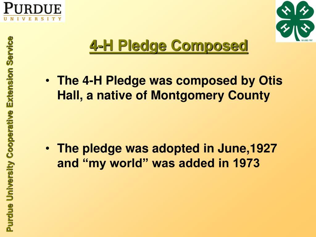 4-H Pledge Composed
