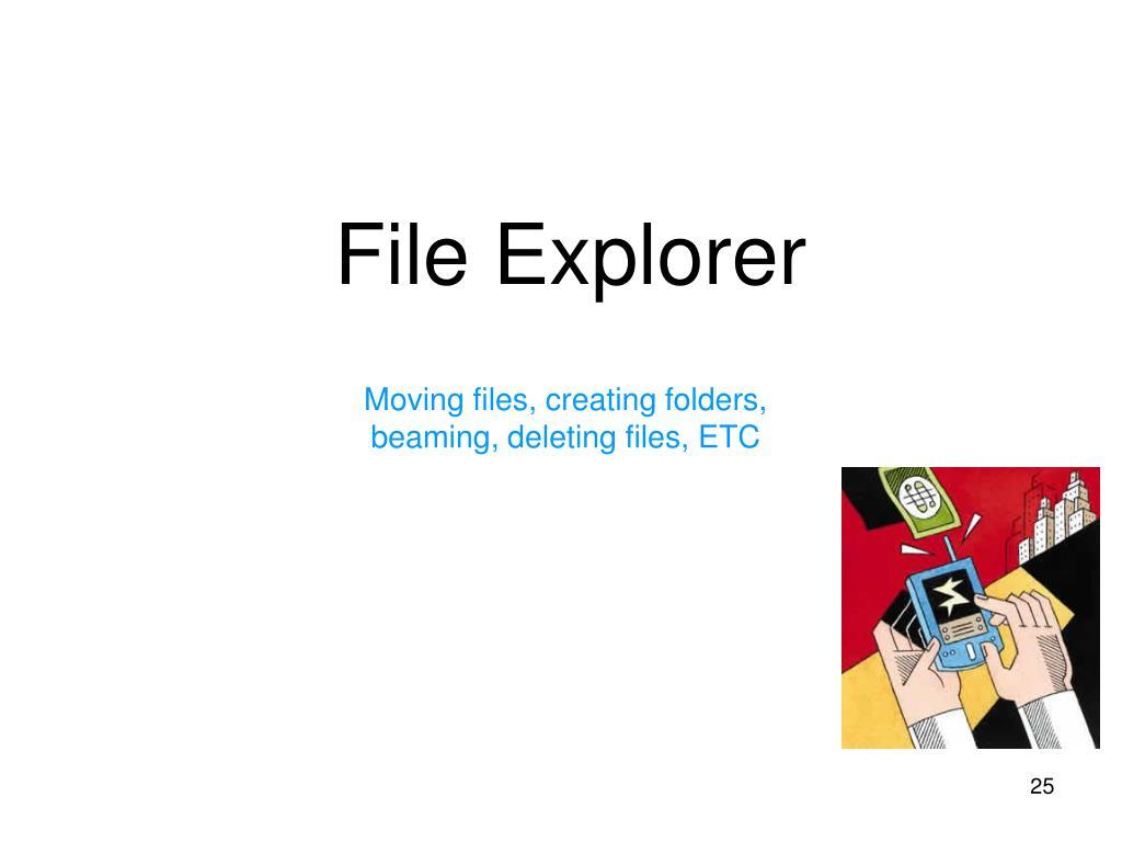 Moving files, creating folders, beaming, deleting files, ETC