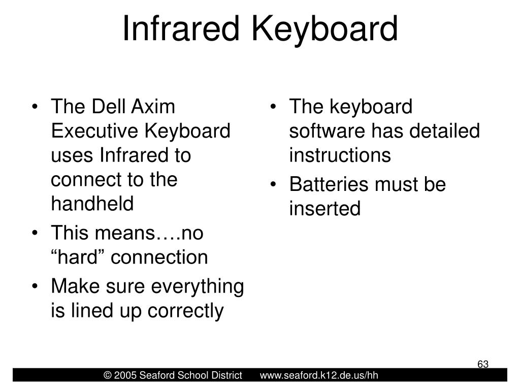 The Dell Axim Executive Keyboard uses Infrared to connect to the handheld