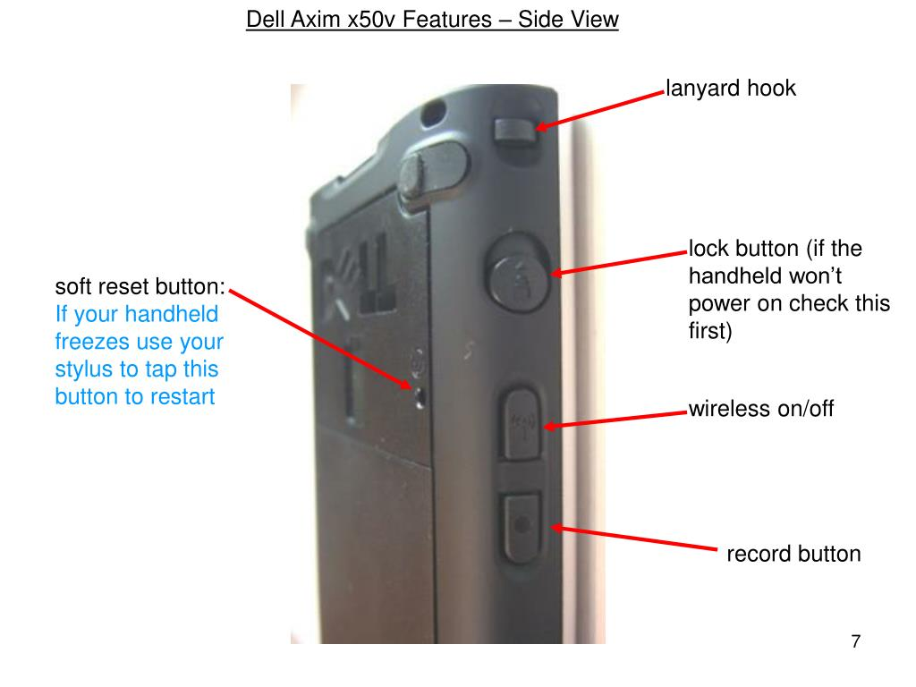 Dell Axim x50v Features – Side View