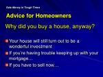 safe money in tough times advice for homeowners