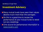 safe money in tough times investment advisory