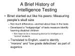 a brief history of intelligence testing
