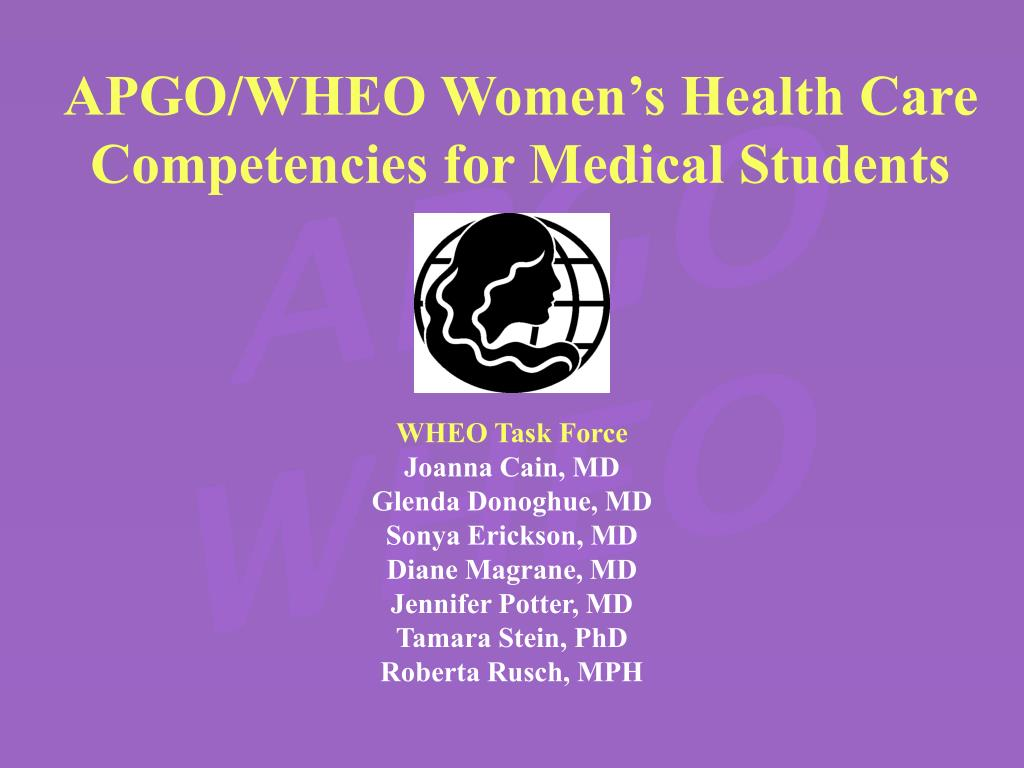 apgo wheo women s health care competencies for medical students l.