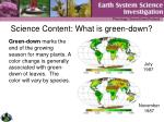 science content what is green down
