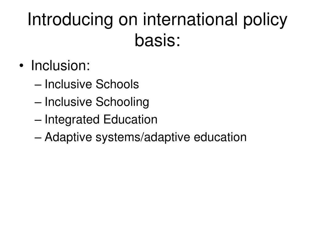 Introducing on international policy basis