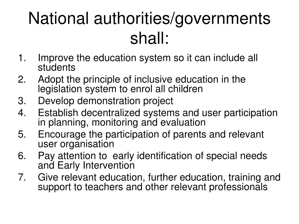 National authorities/governments shall: