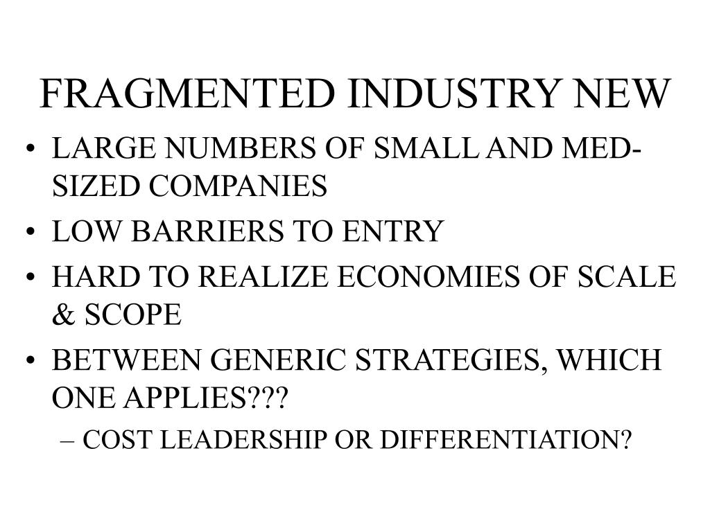 FRAGMENTED INDUSTRY NEW