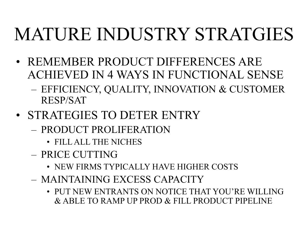 MATURE INDUSTRY STRATGIES