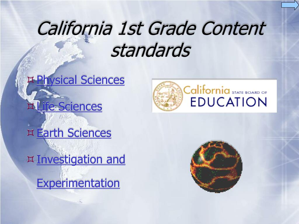 california 1st grade content standards l.